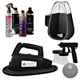 Aura Compact Elite Spray Tan Machine with Norvell Venetian, ONE, and Cosmo Tanning Solutions Sunless Pro Pack Bundle and Black Tent