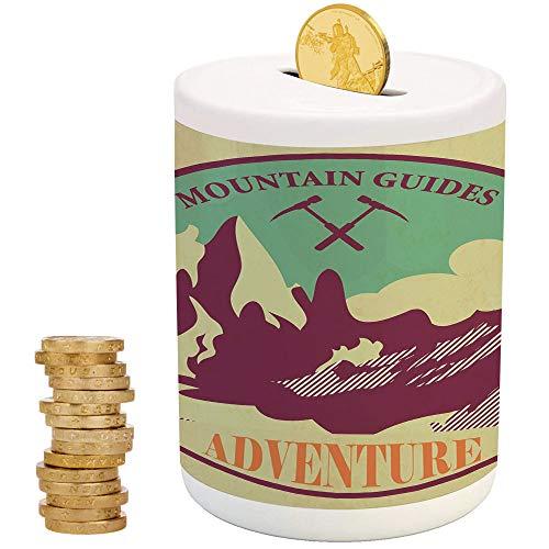 Adventure,Ceramic Child Bank,Printed Ceramic Coin Bank Money Box for Cash Saving,Journey Mountain Guides Trekking Climbing Camps Tourism Vivid Colorful Art - Designer Dog Fab