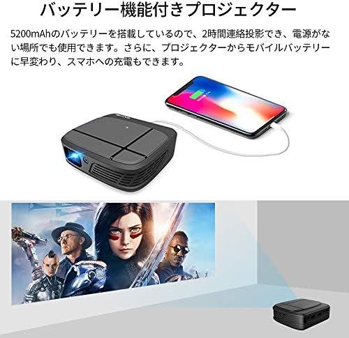 WIKISH ミニLEDプロジェクター小型無線LANのBluetoothワイヤレスで接続3200lm 1080フルHD対応ホームシアタースピーカーが二つ内蔵パソコン/スマホ/タブレット/ PS3 / PS4 /ゲーム機/ DVDプレイヤーなど接続可台形補正標準的なカメラ三脚に対応可