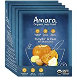 Amara Baby Food, Pumpkin Pear, Healthy Baby & Infant Food, Organic Fruits and Veggies for Baby's First Meals - Stage 2 (5 Pouches)