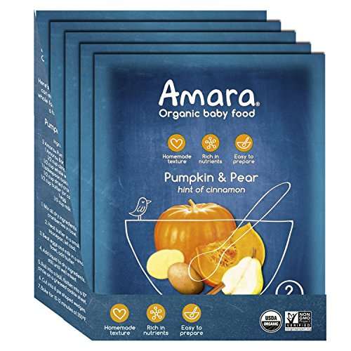 Amara Baby Food, Pumpkin Pear, Healthy Baby & Infant Food, Organic Fruits and Veggies for Babys First Meals - Stage 2 (5 Pouches)