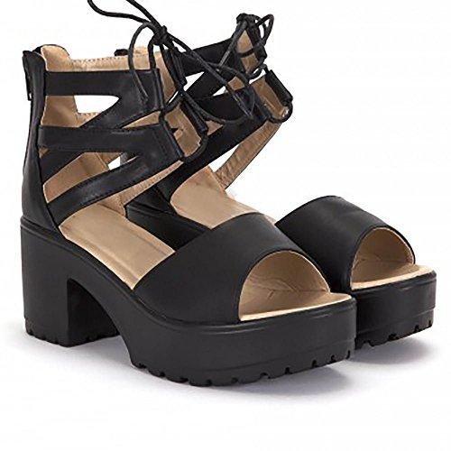 Noir Coincé Plateformes Vibrante Wedges Dentelle Ups Strappy Sandals Chaussures Hauts Talons