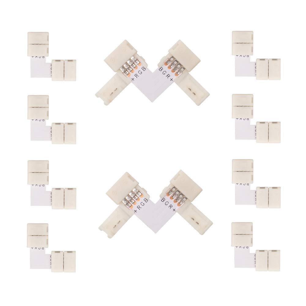 Hitlights 4 Pin LED Connectors 10 Pack L Shape LED
