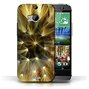 KOBALT? Protective Hard Back Phone Case / Cover for HTC One/1 M8 | Yellow Design | Floral Flower Lights Collection