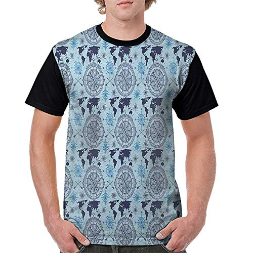 (Female Baseball Short Sleeve,Compass,World Map Pattern Vintage Inspirations Arrows and Windrose Continents Grunge, Pale Blue Indigo S-XXL Short Sleeve Round Neck)