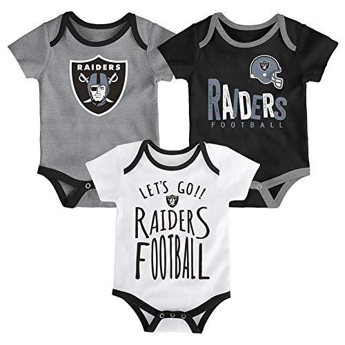 Outerstuff NFL NFL Oakland Raiders Newborn & Infant Little Tailgater Short Sleeve Bodysuit Set Black, 18 Months (Jersey Body Football)