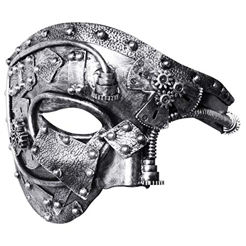 Coddsmz Masquerade Mask Steampunk Phantom of The Opera Mechanical Venetian Party Mask(Antique Silver)]()