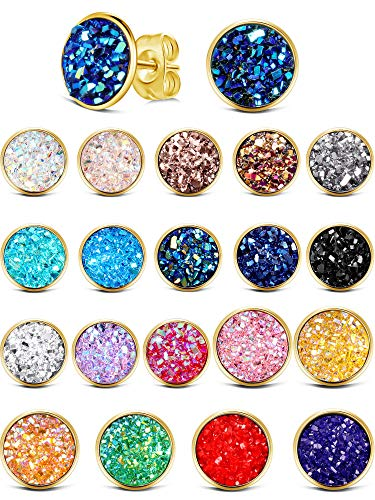 20 Pairs Round Stud Earrings Stainless Steel Druzy Studs Earrings Set Anti-sensitive Fits Women Girls, 8 mm and 12 mm (Golden-8mm, 12mm)
