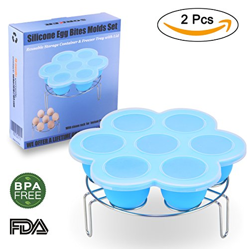 Silicone Egg Bites Molds, Reusable Baby Food Storage Trays with Lid PLUS Stainless Steel Egg Steam Rack for Instant Pot Accessories 6 qt by SORKER (Silicone Rack Steam)