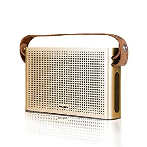 HTQ Portable Bluetooth Speaker with Leather Strap 2 x 5W Power Output 2 Drivers and 1 Passive Bass Radiator 2 x 2200 mAh Battery Charge for Mobile Phon