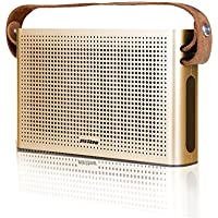 Portable Bluetooth Speaker, HTQ Bluetooth Speaker with Leather Strap 2 x 5W Power Output 2 Drivers and 1 Passive Bass Radiator 2 x 2200 mAh Battery Charge for Mobile Phone