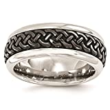 Titanium Black Ti w/Stainless Steel Patterned 9mm Wedding Ring Band Size 10.5 by Edward Mirell