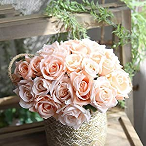 XGM GOU 9PCS/Bouquet DIY Artificial Flowers Rose Flower Bouquet Silk Rose Flower Wedding Favors for Home Garden Wedding Party Decoration 88