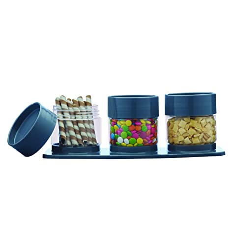 Ruchi Housewares Store  amp; Stack Plastic Canister Set, 4 Pieces, Gray Spice Jars