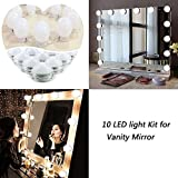 Vanity Mirror Lights Hollywood Style Kit,10 Dimmable LED Bulbs,Lighting Fixture Strip for Makeup Vanity Table Set in Dressing Room Bathroom (Mirror Not Include)