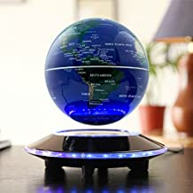 "6"" Magnetic Floating World Map Globe With LED Light, Globes World, Magnetic Rotating Globe Anti-gravity Floating Levitating Earth Levitation Globe Suspended in Air World Stage - Stylish Home Office Desktop Display Decoration (blue)"