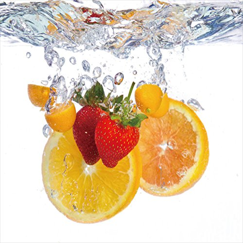 Fruit Splash I fruit Glass Wall art - kitchen wall art