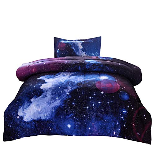 JQinHome Twin Galaxies Dark Blue Comforter Sets Blanket, 3D Outer Space Themed Bedding, All-Season Reversible Quilted Duvet, for Children Boy Girl Teen Kids - Includes 1 Comforter, 1 Pillow Sham (Bedding Twin Size For Teens)