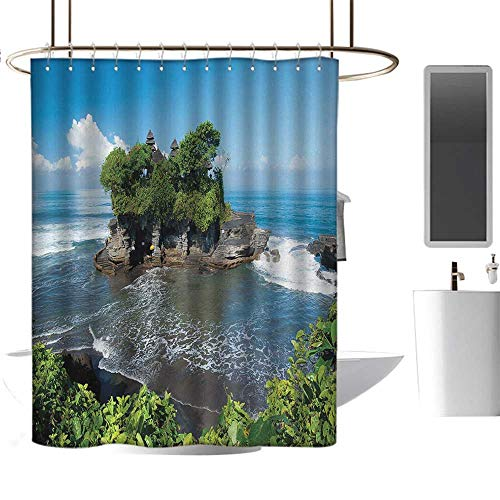 (MKOK Waterproof Shower curtain70 x70 Balinese,Tanah Lot Temple in Bali Island Wavy Ocean Historic Architecture Heritage Picture,Green Blue,Hand Drawing Effect Fabric Shower Curtains)