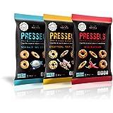 Pressels Baked Pretzel Chips – Non-GMO, Low-Calorie, Vegan, Kosher – Less Fat & Sodium Than Ordinary Chip – Thin, Crispy, Tasty Mini Pretzel Snack Bags Sriracha/Sea Salt/Everything, 7.1 Oz, 3- Pack