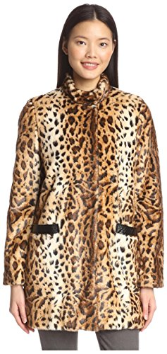 Jaguar Faux Fur - Via Spiga Women's Faux Fur Animal Print Coat, Jaguar, M