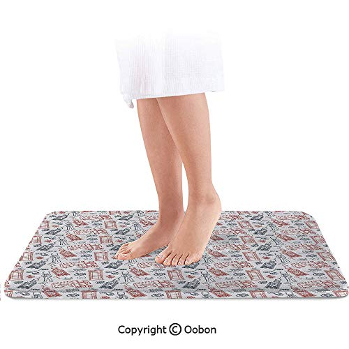 London Bath Mat,Popular English Icons Collection Country Culture Tourist Attraction Decorative,Plush Bathroom Decor Mat with Non Slip Backing,24 X 17 Inches,Dark Blue Vermilion White