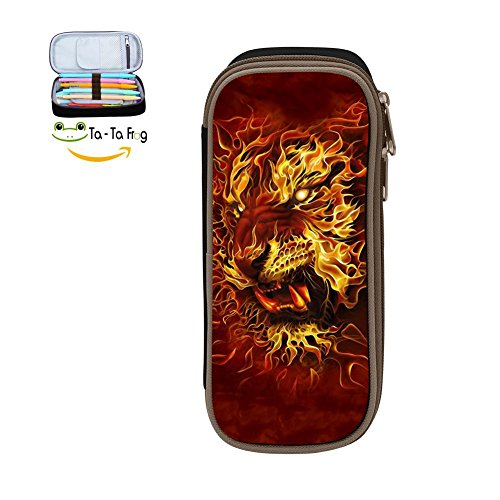 Large Capacity Canvas Mobile Phone Box Portable for Kids,Print Fire Tiger,Black ()