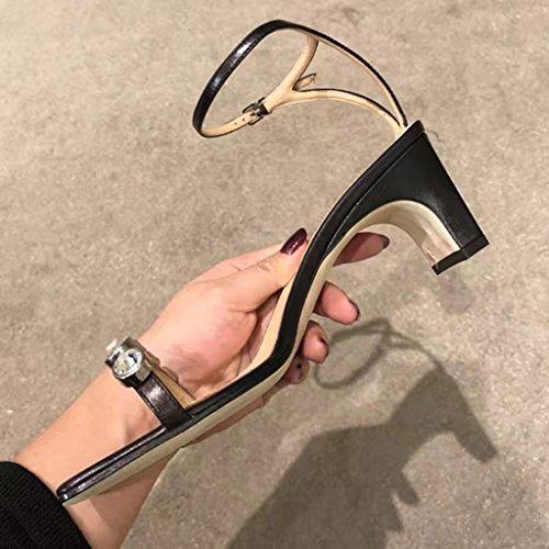 fino vestir Jia Zapatos de de Ren Rhinestone Sandalias Zapatos Chang mujer Pin tac Shi para Firm Bq7Avg