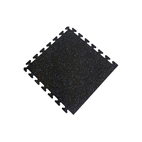 Black with Blue Speck 24 in. x 24 in. Finished Side Recycled Rubber Floor Tile (16 sq. ft./ case) by I-Flex