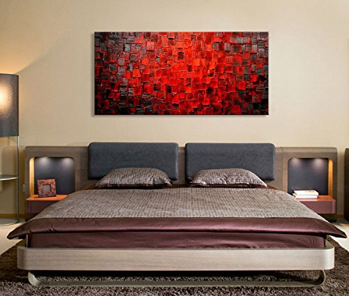 Seekland Art Modern Oil Painting Hand Painted Texture Red Abstract Canvas Wall Art Decoration Contemporary Artwork Framed Ready to Hang