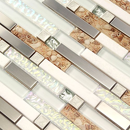 Bathroom Wall Mosaic Tiles White Stone Tile Backsplash Iridescent Stainless Steel Kitchen Conch Subway Materials (1PCS Small Sample 2.8x5.9 Inches)
