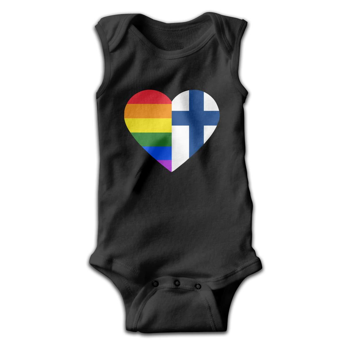 LGBT Rainbow Finland Flag Heart Baby Boys Girls Infant Crawling Suit Sleeveless Romper Bodysuit Rompers