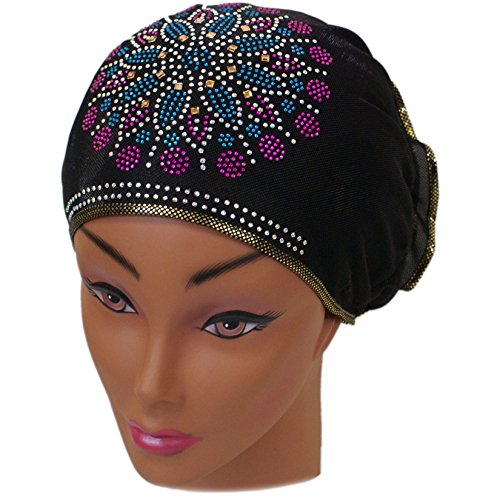 Crystal Scarf (SSK Beautiful Metallic Turban-style Head Wrap (Blue and Pink Crystal Flower, Gold Trim))