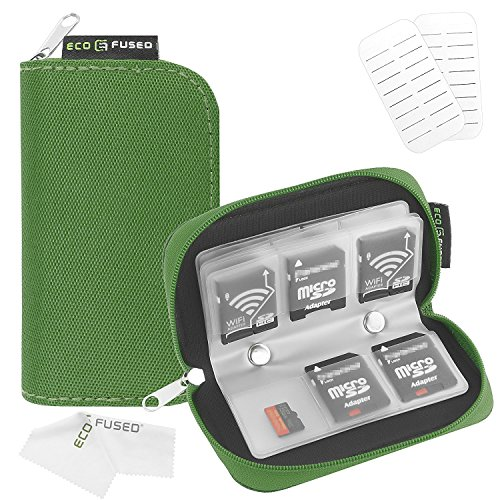 Memory Card Case - Fits up to 22x SD, SDHC, Micro SD, Mini SD and 4X CF - Holder with 22 Slots (8 Pages) - for Storage and Travel (Green) ()