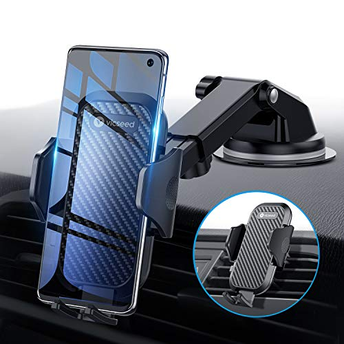 Universal Car Phone Mount VICSEED Car Phone Holder for Car Dashboard Windshield Air Vent Long Arm Strong Suction Cell Phone Car Mount Fit with iPhone 11 Pro X XS Max XR Galaxy S20 Note10 & All Phones