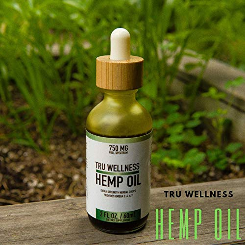 Tru Wellness 100% Organic 2 fl.oz Unrefined Cold-Pressed Hemp Oil for Pain Anxiety & Stress Relief (Omega 3, 6 and 9) I Extra Strength Herbal Drops Helps with Sleep, Skin & Hair, 2 Fl Oz / 60 ML