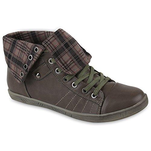 Damen Schuhe Outdoorschuhe Sneaker Karomuster Flandell Khaki Grün Karo