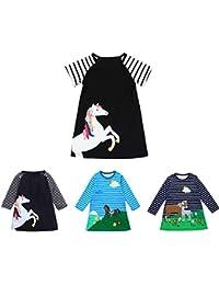 Little Girl Spring Summer Dress Kids Stripe Long/Short Sleeve Horse Princess Dresses