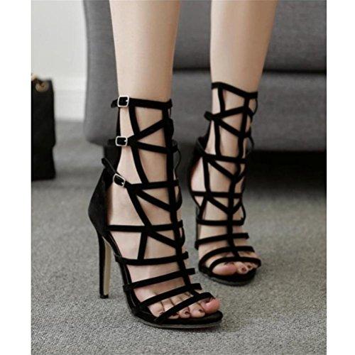 Ceinture De Toe De Trois XIE Fête Rangées Sandales black Boucles Été Boucle Open Confortable Chaussures Hauts Creux À Femmes Talons Respirant EXq4XU