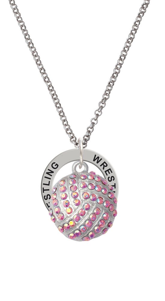 Large Super Sparkle Crystal Pink AB Volleyball - Wrestling Affirmation Ring Necklace by Cheer Bunny