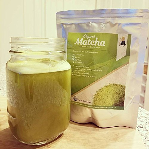 Pure Matcha Green Tea Powder - 100% Organic Culinary Grade for Cooking & Baking. Drink Mix for Health Smoothies, Lattes & Green Drinks - Super Daily Antioxidant & High Energy Supplement Starter Kit