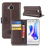 Scheam Flip Wallet Case for BQ Aquaris U2 Appears Shock Protection with Card Slots Lightweight Defender Cover Case and Adjustable Stand Brown