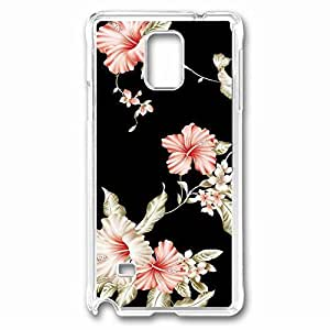 Design Flower Pattern Custom Back Phone Case for Samsung Galaxy Note 4 PC Material Transparent -1210068