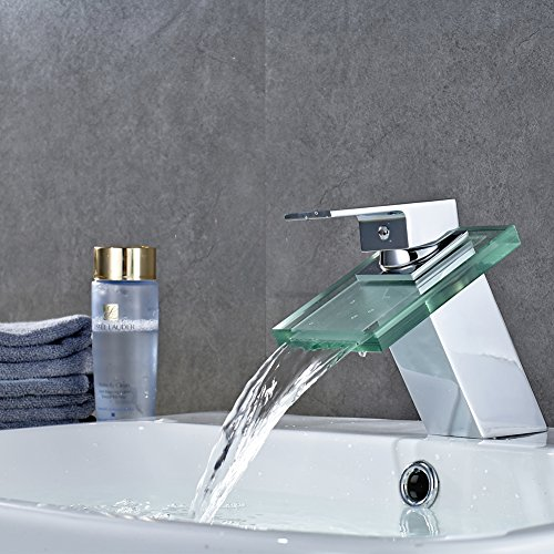 ROVATE Bathroom Glass Sink Faucet Brass Single Handle Single Hole Waterfall Mixe Faucet/Tap Deck Mounted on Sink, Polished Chrome -