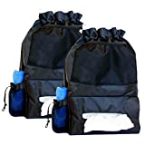 Car Trash Bag, Backseat Organizer & Tissue Box Holder with *FREE BONUS* Microfiber Cleaning Cloth for Windshield Glass l Hangs on Seat Headrest, Hold Garbage, Store Wet Wipes, Premium Quality (2-pack)