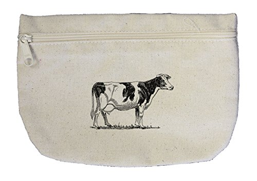 Style in Print Cow Vintage Look Canvas Pouch with Zipper, Makeup Bag