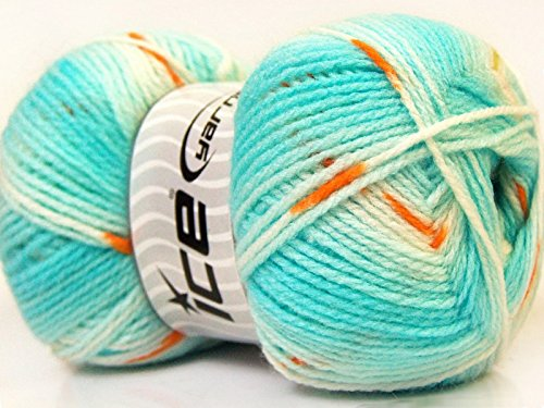Copper Wool Yarn - (1) 100 Gram Baby Design Yarn - Turquoise, Copper, Green, White Self-Striping, Patterning - Acrylic, 393 Yards