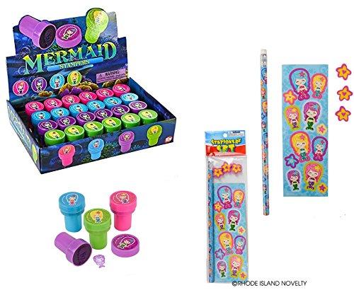 Fun 36 Piece Set of Mermaid Party Favors/12 Mermaid Stationery Sets & 24 Mermaid Stampers