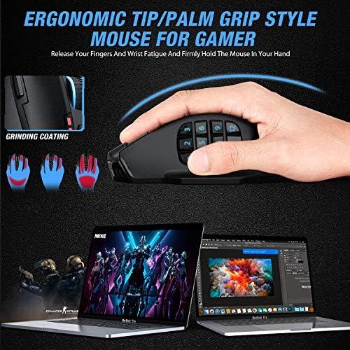 UtechSmart Venus Pro RGB Wireless MMO Gaming Mouse, 16,000 DPI Optical Sensor, 2.4 GHz Transmission Technology, Ergonomic Design, 16M Chroma RGB Lighting, 16 programmable Buttons, Up to 70 Hours 513zib XekL