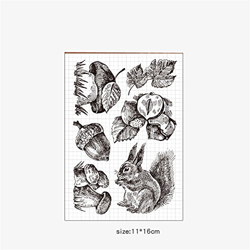 Squirrel and Nuts Scrapbook DIY Photo Cards Rubber Stamp Clear Stamp Transparent Stamp